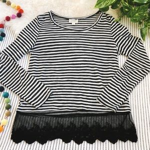 LA Hearts Black and White Striped Lace Sweater